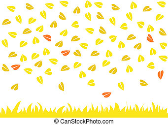 Leaves raining on yellow grass