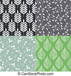 Leaves seamless vector pattern set.