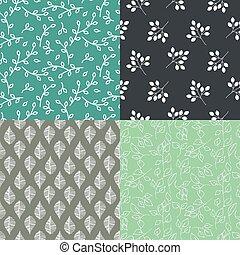 Leaves seamless vector pattern set.