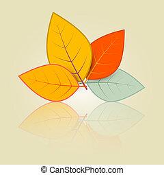 Leaves Set Illustration in Retro Style