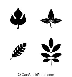 Leaves. Simple Related Vector Icons