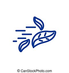 Leaves spinning in the wind icon, line style design