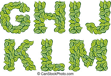 leaves typography G to M