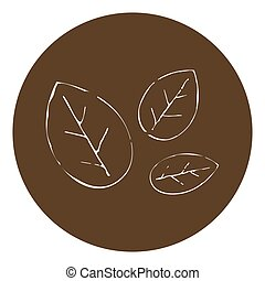 Leaves vector illustration on brown background.