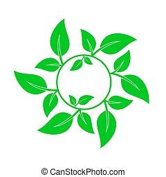 leaves., vert, vecteur, fond