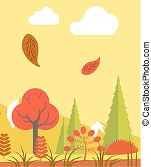 Leaves walling in forest - Vector illustration od red...