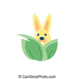leaves with cute rabbit, flat style icon