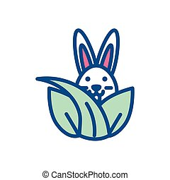 leaves with cute rabbit, line style icon