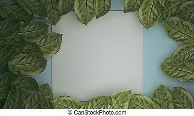 leaves with paper card note. 3D rendering