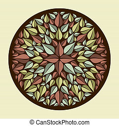 Leaves yoga mandala - Circle flower leaf mandala...