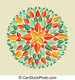 Leaves yoga mandala - Circle leaf shape mandala design....