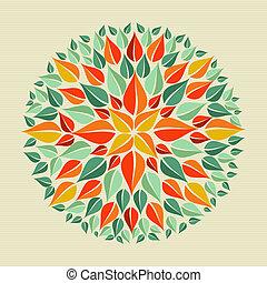 Circle leaf shape mandala design. Vector file layered for easy manipulation and custom coloring.