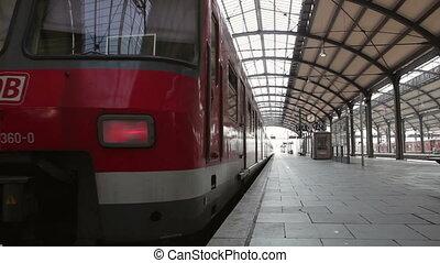 Leaving German S-Bahn - Wiesbaden, Germany - March 13, 2014:...