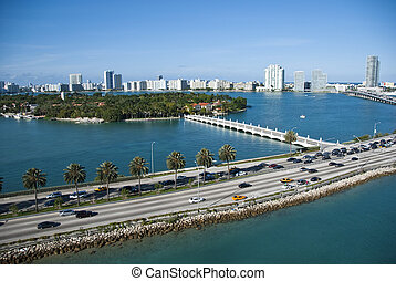 Leaving Miami, Florida - View of Miami from a departing...