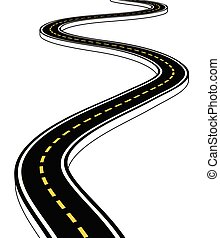 Leaving the highway, curved road with markings. 3D vector illustration on white