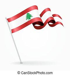 lebanese, alfinete, ondulado, flag., vetorial, illustration.