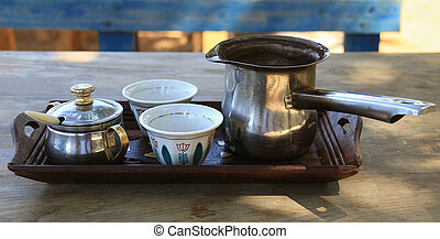 Lebanese Breakfast Coffee Arrangement - A tray with two...
