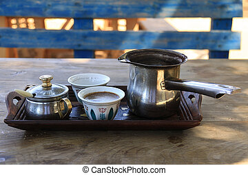 Lebanese Breakfast Setting with Turkish Coffee