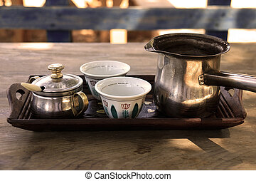Lebanese Coffee Cups and Kettle - A tray with two Lebanese...