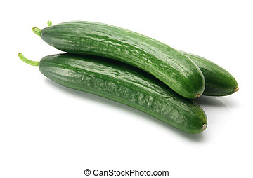 Lebanese Cucumbers on White Background