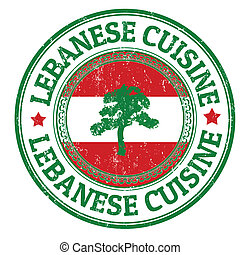 Lebanese Cuisine stamp - Grunge rubber stamp with Lebanon...