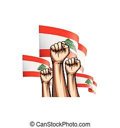 Lebanese flag and hand on white background. Vector illustration.