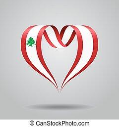 Lebanese flag heart-shaped ribbon. Vector illustration. -...