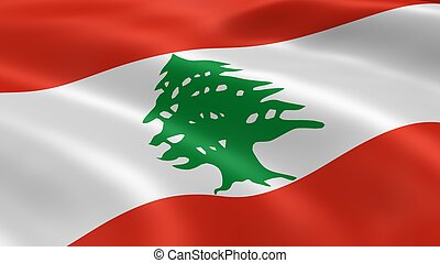 Lebanese flag in the wind.