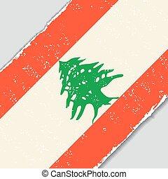 lebanese, grunge, flag., vetorial, illustration.