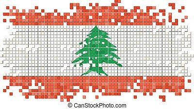 Lebanese grunge tile flag. Vector