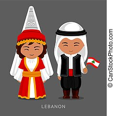 Lebanese in national dress with a flag.