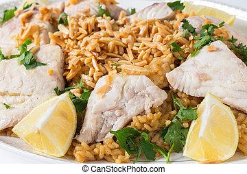 lebanese, peixe, arroz, e, nozes