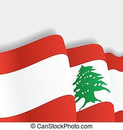 lebanese, waving, flag., vetorial, illustration.