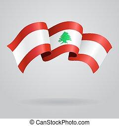 lebanese, waving, flag., vetorial, ilustração