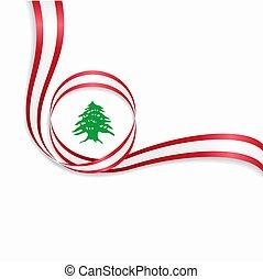 Lebanese wavy flag background. Vector illustration. -...