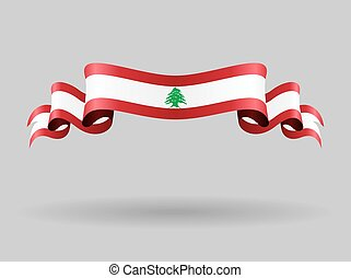 Lebanese wavy flag illustration. - Lebanese flag wavy...