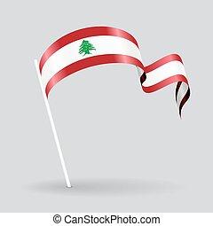 Lebanese wavy flag. Vector illustration. - Lebanese pin icon...
