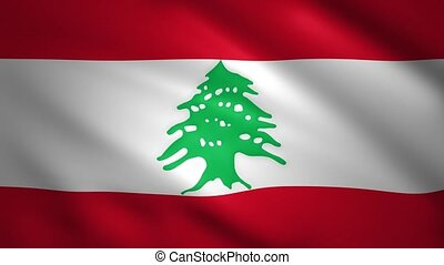Lebanon flag moves in the wind