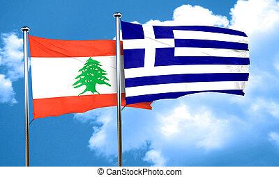 Lebanon flag with Greece flag, 3D rendering