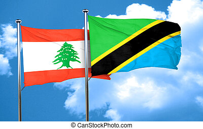 Lebanon flag with Tanzania flag, 3D rendering