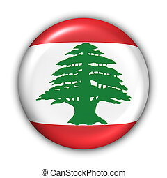 World Flag Button Series - Asia/Middle East - Lebanon (With Clipping Path)