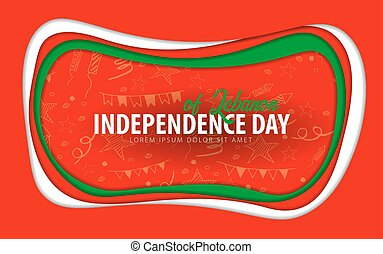 Lebanon. Independence day greeting card. Paper cut style.
