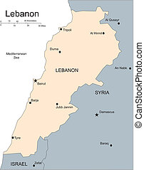 Lebanon, Major Cities and Capital and Surrounding Countries