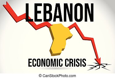 Lebanon Map Financial Crisis Economic Collapse Market Crash Global Meltdown Vector.