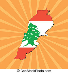 Lebanon map flag on sunburst