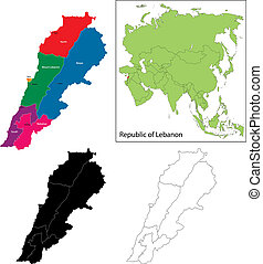 Lebanon map Color lebanon vector map with regions over vector