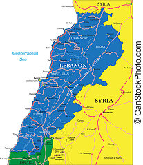 Lebanon map - Highly detailed vector map of Lebanon with...