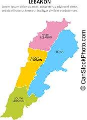 Lebanon multicolored map with regions. Vector illustration