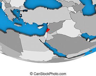 Lebanon on 3D globe