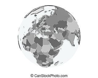 Lebanon on globe isolated